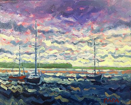 Sailboats at Sag Harbor by Ralph Papa