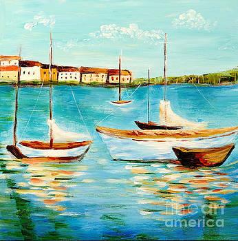 Sailboats at Sea by Art by Danielle