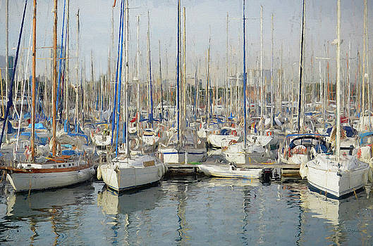 Sailboats at the Dock - Painting by Ericamaxine Price