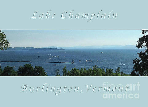 Felipe Adan Lerma - Sailboats by Lake Champlain Lighthouse Panorama Poster Greeting Card