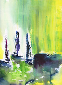 Sailboats Docked Abstract by Frank Bright