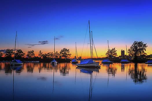 Sylvia J Zarco - Sailboats in a Blue Sunset