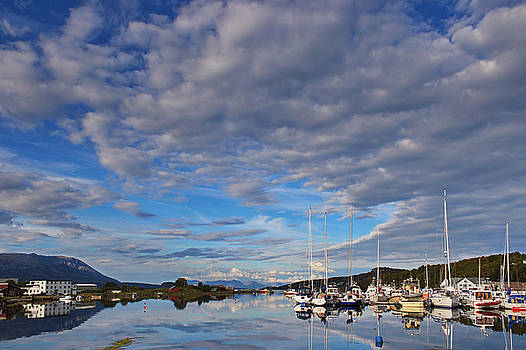 Sailboats in a marina in northern Norway by Intensivelight