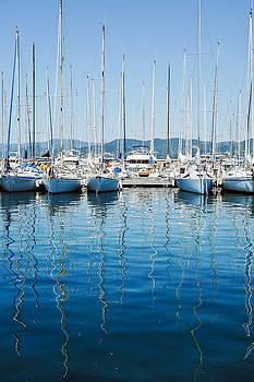 Sailboats In Saint Tropez by Elly De vries