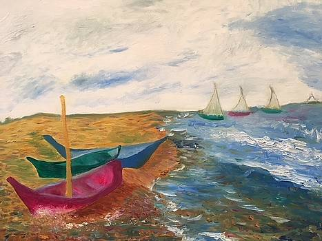 Sailboats on the Gulf of Mexico by Susan Grunin