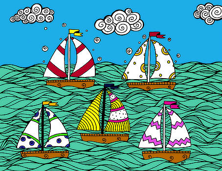 Sailboats on the Sea by Jayme Kinsey