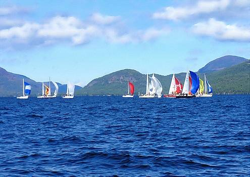 Sailboats Racing on Lake George by Linda Seifried