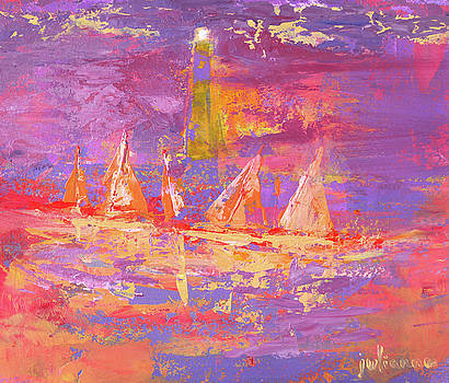 Sailboats with lighthouse at sunrise by Julianne Felton