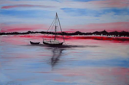Sailing At Dusk 4 by Portland Art Creations