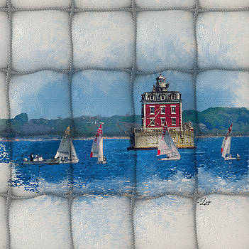 Sailing by New London Ledge Light by Linda Ouellette