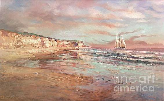 Sailing off California Shore by Larry Mansker