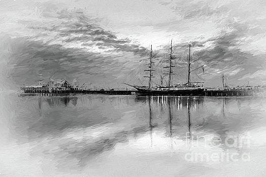 Sailing ship at Cunningham Pier by Howard Ferrier