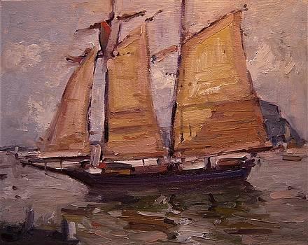 Sailing ship in Morro Bay by R W Goetting
