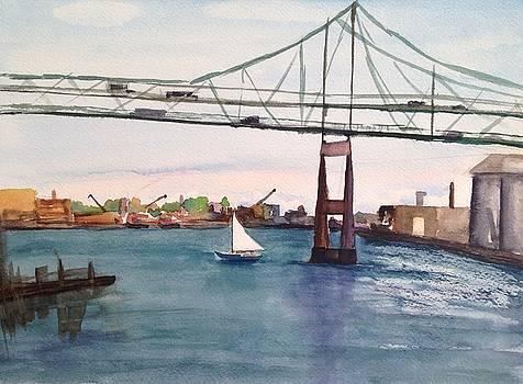 Sailing Under The Tobin Bridge by Katie Cornog