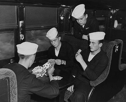 Chicago and North Western Historical Society - Sailors Play Cards Aboard Chicago and North Western