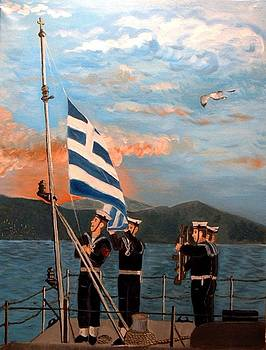 Sailors raising the flag by Kostas Koutsoukanidis