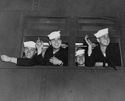 Chicago and North Western Historical Society - Sailors Wave Goodbye From Passenger Car