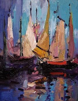 Sails at dawn by R W Goetting