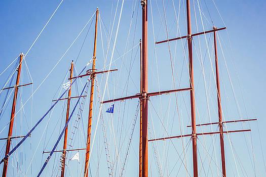 Sails in Santorini by Matti Ollikainen