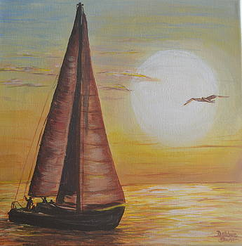 Sails in the sunset by Debbie Baker