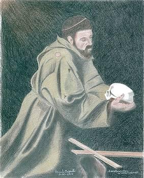 Saint Francis In Meditation Caravaggio by Bernardo Capicotto