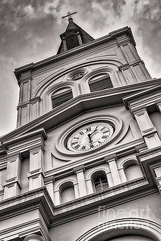 Saint Louis Cathedral Clock and Spire bw by Jerry Fornarotto