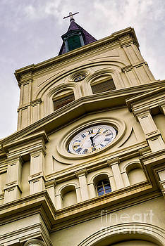 Saint Louis Cathedral Clock and Spire by Jerry Fornarotto