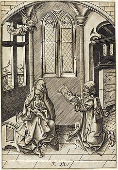Israhel van Meckenem -  Saint Luke Drawing a Portrait of the Virgin