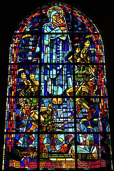 Sainte-Mere-Eglise Paratrooper Tribute Stained Glass Window by John Daly