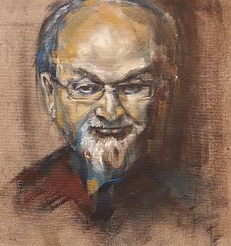 Salman Rushdie portrait by Christel Roelandt