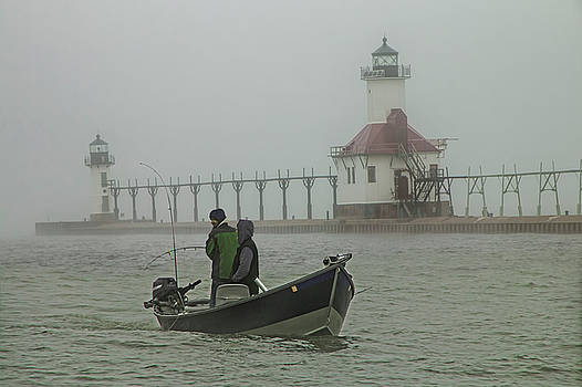 Randall Nyhof - Salmon Fishermen in the Fog by the St. Joseph Lighthouse