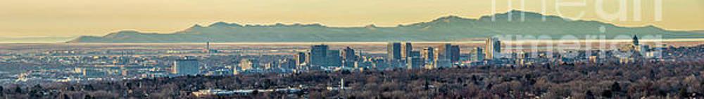 Salt Lake City with Antelope Island by Spencer Baugh