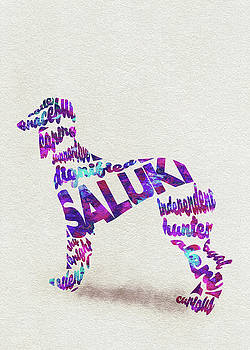 Saluki Dog Watercolor Painting / Typographic Art by Ayse and Deniz