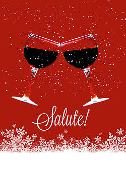 Salute Toasting Wine Glasses in the Snow Holiday Christmas Themed by Stephanie Laird