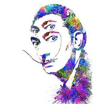 Salvador Dali Watercolor digital portrait optic illusion 2 by Georgeta Blanaru