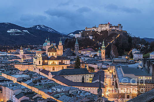 Salzburg skyline at twilight by Travel and Destinations - By Mike Clegg