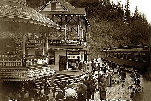 California Views Archives Mr Pat Hathaway Archives - Sampling Shasta Water with Some Passengers that disembark the train 1906
