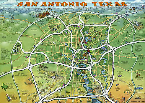 Kevin Middleton - San Antonio Texas Cartoon Map