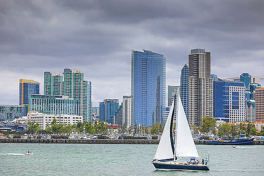 San Diego sky line and yacht by Hyuntae Kim