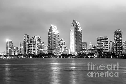 Paul Velgos - San Diego Skyline at Night Black and White Photo