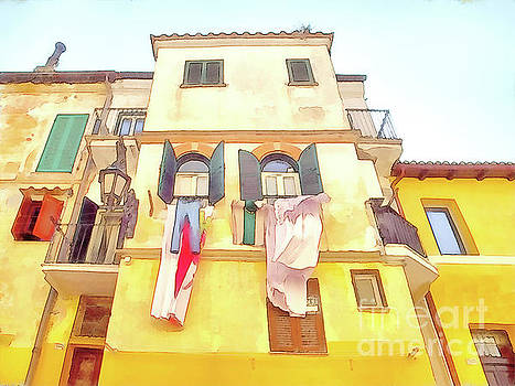 Giuseppe Cocco - San Felice Circeo building with the put clothes