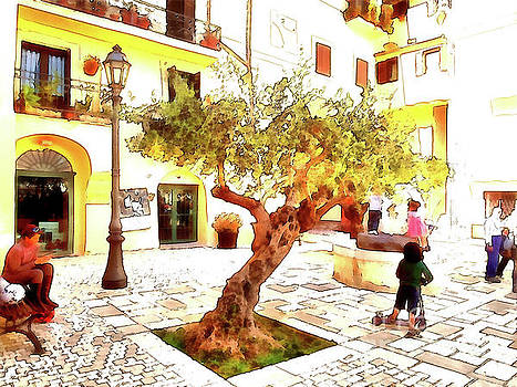Giuseppe Cocco - San Felice Circeo Olive tree in the square
