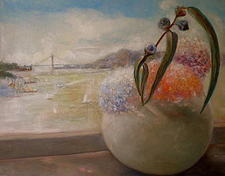San Francisco Bay with Floral by Diane Woods