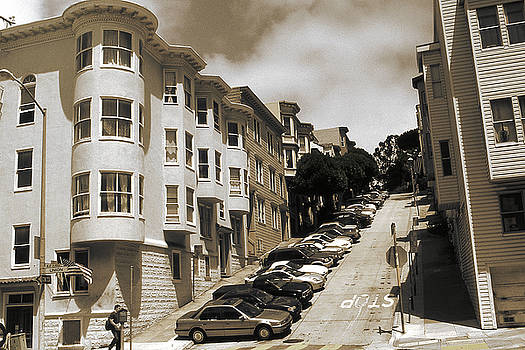 Art America Gallery Peter Potter - Old San Francisco Photo - Hill Parking