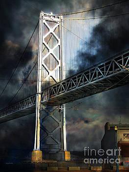 San Francisco Nights At The Bay Bridge 7D7748 vertical by San Francisco