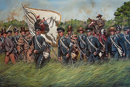 San Jacinto - Sherman's Kentucky Rifles Regiment at the Battle of San Jacinto, Texas by Mark Maritato