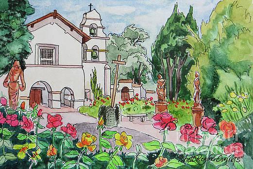 San Juan Bautista Mission Courtyard by Rhett Regina Owings