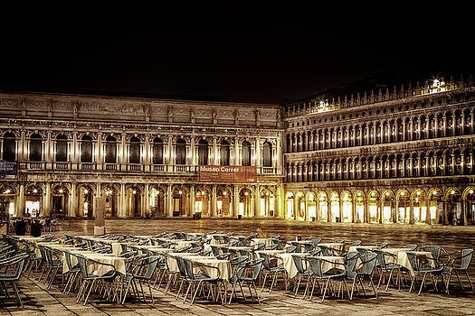 San Marco Cafes at Night by Andrew Soundarajan