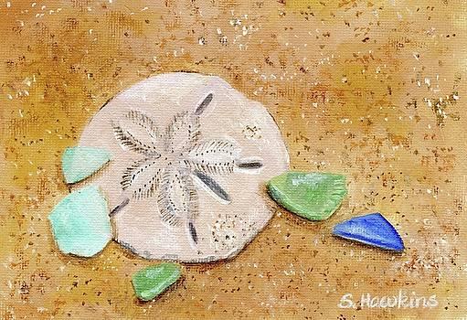 Sand Dollar and Beach Glass by Sheryl Heatherly Hawkins