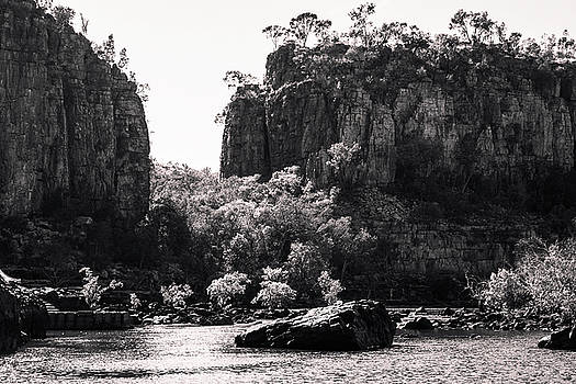 Sandstone cliffs in black and white at Katherine River Gorge, Australia by Daniela Constantinescu